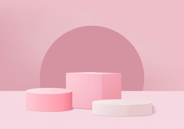 Minimalne różowe podium i scena z renderowaniem 3d w abstrakcyjnej kompozycji tła, ilustracja 3d makiety kształtów platform kształtów sceny do wyświetlania produktów.