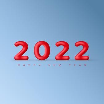 Minimalne świąteczne jasnoniebieskie tło z dekoracyjnymi czerwonymi balonikami 2022 i pozdrowieniami