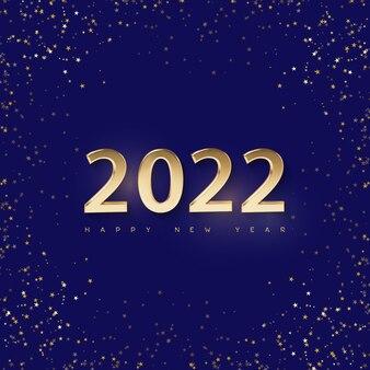 Minimalne świąteczne niebieskie tło połysku z ozdobnymi złotymi cyframi 2022 i powitaniem
