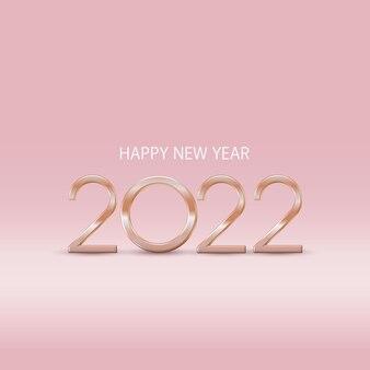 Minimalne świąteczne złote różowe tło z ozdobnymi złotymi cyframi 2022 i powitaniem