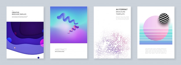 Minimalne szablony broszur z geometrycznymi kolorowymi wzorami