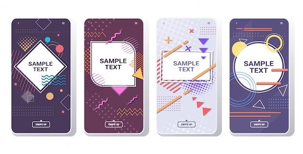 Minimalne szablony okładek do dekoracji prezentacji plakat w stylu memphis streszczenie tło banery ekrany smartfonów ustawione online aplikacja mobilna kopia przestrzeń pozioma