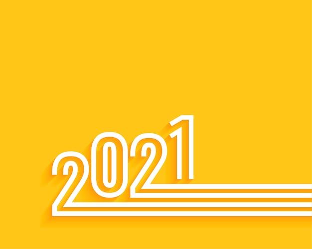 Minimalne szczęśliwego nowego roku 2021 żółte tło
