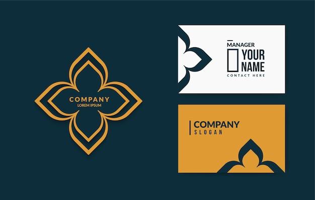 Minimalne tajskie logo wzór z luksusowym szablonem wizytówki
