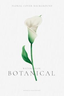 Minimalne tło botaniczne z lily akwarela