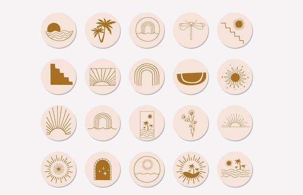 Minimalne wyróżnienie na instagramie ze słońcem, tęcza w stylu cyganerii