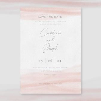 Minimalne zaproszenie na ślub akwarela