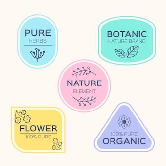 Minimalne zestaw logo naturalnego biznesu