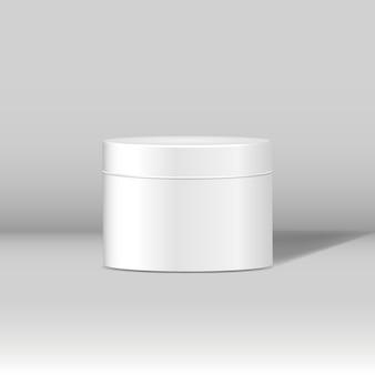 Minimalny biały kosmetyczny słój mockup