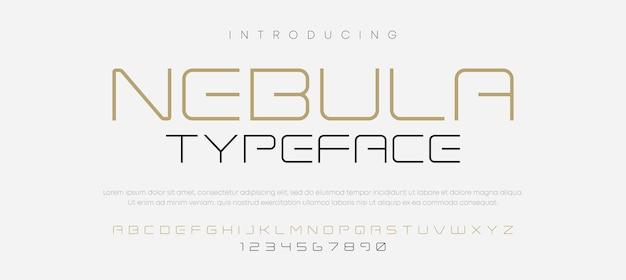 Minimalny futurystyczny zestaw czcionek alfabetu typografii