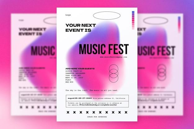 Minimalny i nowoczesny plakat festiwalu muzycznego z abstrakcyjnym kształtem gradientu