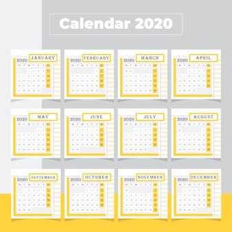 Minimalny kalendarz 2020