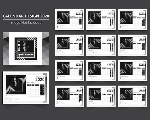 Minimalny kalendarz biurkowy 2020