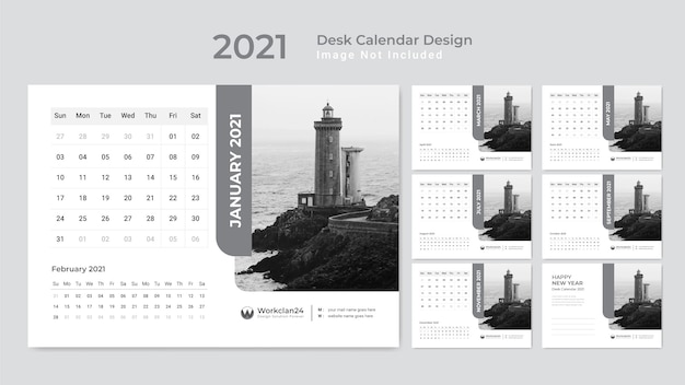 Minimalny kalendarz biurkowy, terminarz na rok 2021