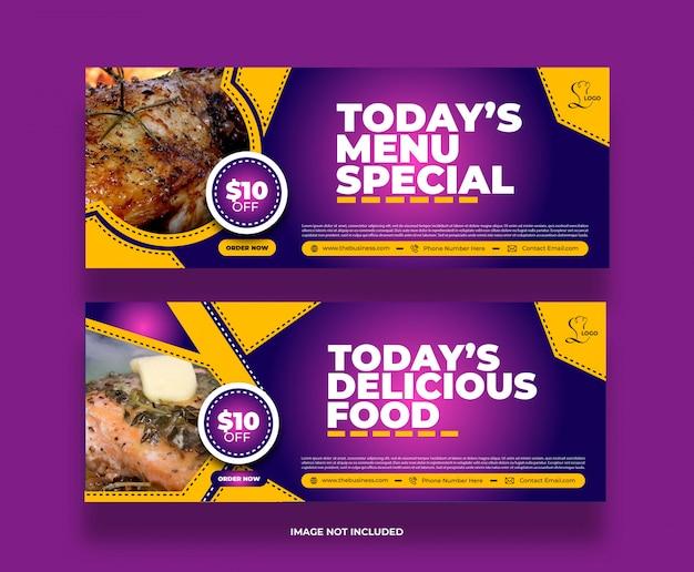 Minimalny kolorowy baner pysznego jedzenia w restauracji na post w mediach społecznościowych