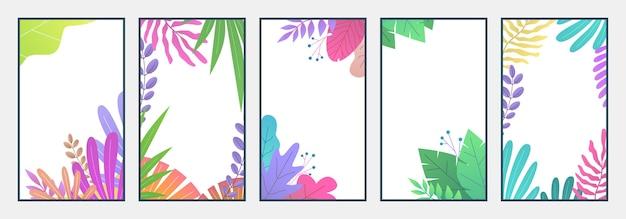 Minimalny krajobraz. tapety botaniczne na telefon komórkowy z miejscem na tekst i liśćmi na historie w mediach społecznościowych. okładka smartfona minimalizm liści ogrodowych kompozycji tła