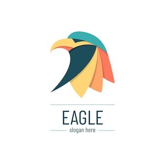 Minimalny kreatywny i kolorowy szablon logo orła