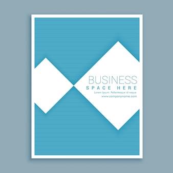 Minimalny niebieski i biały biznes broszura projekt ulotki w formacie a4