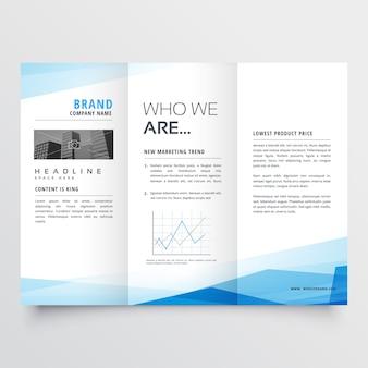 Minimalny niebieski trójkąt tło wzór broszury