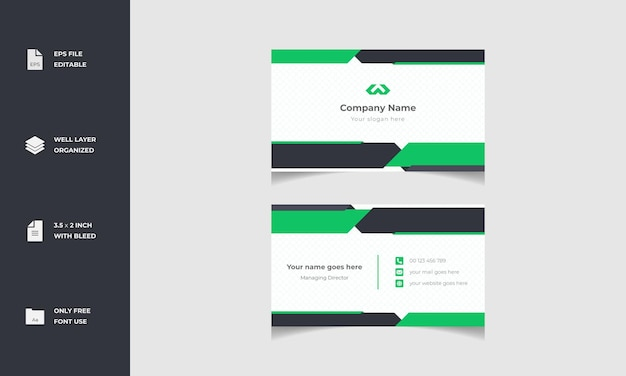 Minimalny nowoczesny stylowy projekt szablonu wizytówki