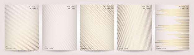 Minimalny projekt okładek. abstrakcjonistyczny geometryczny tło z liniami. złota tekstura.