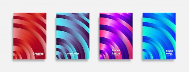 Minimalny projekt okładek. kolorowa linia. futurystyczne wzory geometryczne.