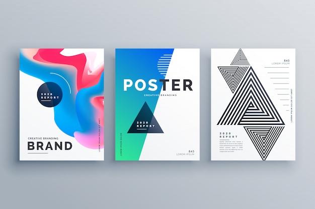 Minimalny projekt plakatu z trzema różnymi stylami
