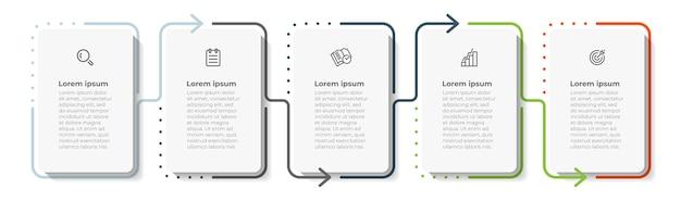 Minimalny projekt szablonu cienkiej linii infografiki z ikoną i 5 opcjami lub krokami