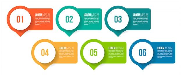 Minimalny projekt szablonu infografiki z numerami 6 opcji lub kroków.