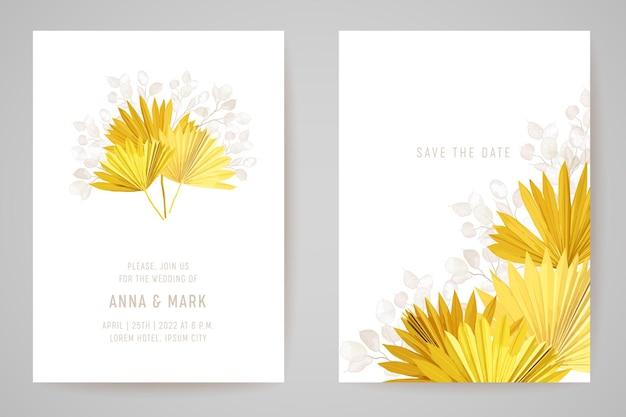 Minimalny projekt szablonu karty zaproszenie na ślub, liście palm tropikalnych, zestaw ramek kwiatów księżyca, sucha trawa pampasowa wektor akwarela. save the date nowoczesny plakat, modne luksusowe tło