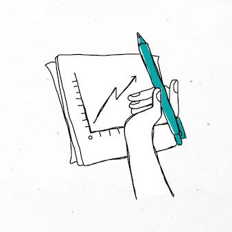 Minimalny rysunek odręczny wykres biznes doodle clipart