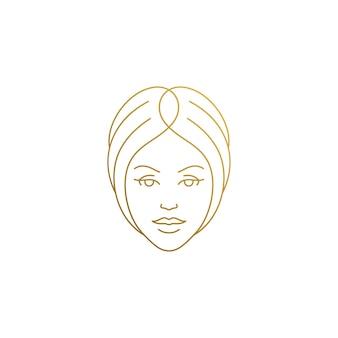 Minimalny styl liniowy godło szablon twarz kobiety z pięknymi włosami ręcznie rysowane złotymi liniami