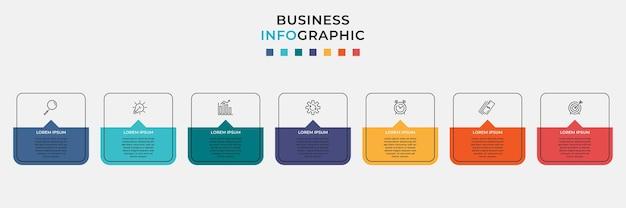 Minimalny szablon biznes infografiki. oś czasu z siedmioma krokami, opcjami i ikonami marketingowymi
