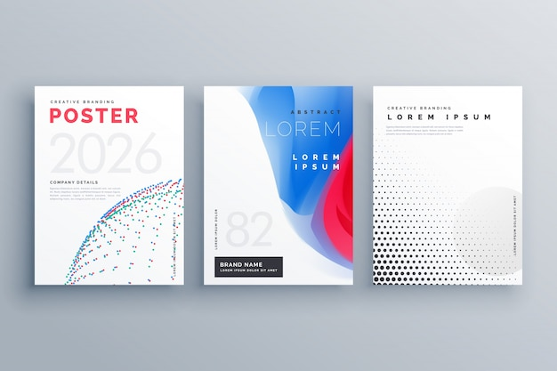 Minimalny szablon broszury projekt twórczy okładki w rozmiarze a4 z kropkami półtonów i kształtów abstrakcyjnych kształtów
