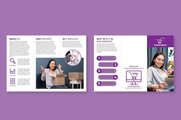 Minimalny szablon broszury składanej na trzy sposoby