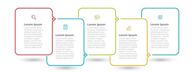 Minimalny szablon infografiki z ikonami i 5 opcjami lub krokami