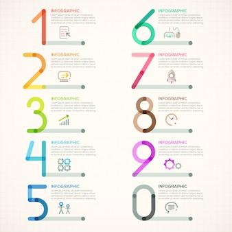 Minimalny szablon infografiki z liczbami od 0 do 9