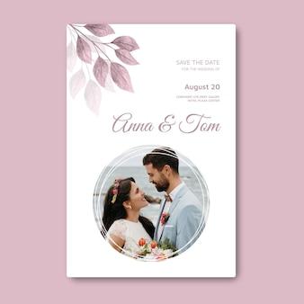 Minimalny szablon kartki ślubnej