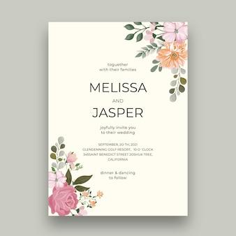 Minimalny szablon karty ślubu kwiatowy