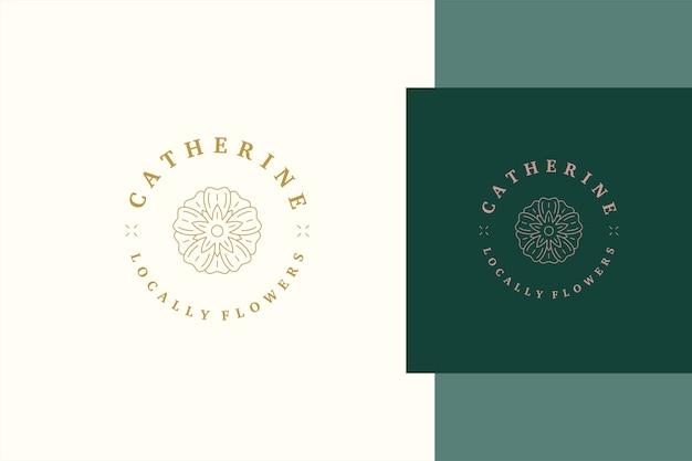 Minimalny szablon logo w stylu liniowym z eleganckim delikatnym kwiatem