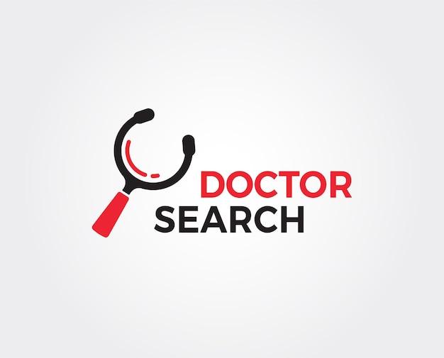 Minimalny szablon logo wyszukiwania lekarza