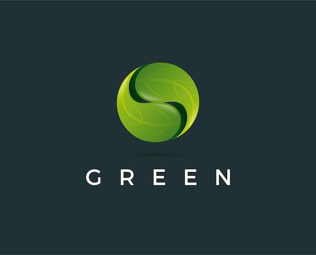 Minimalny szablon logo zielonego liścia - ilustracja wektorowa