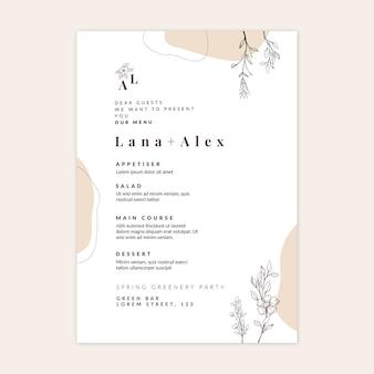Minimalny szablon menu weselnego