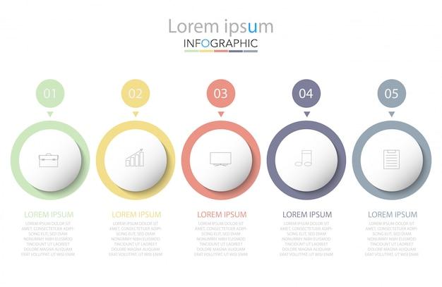 Minimalny szablon osi czasu koło infografika pięć opcji lub kroków.