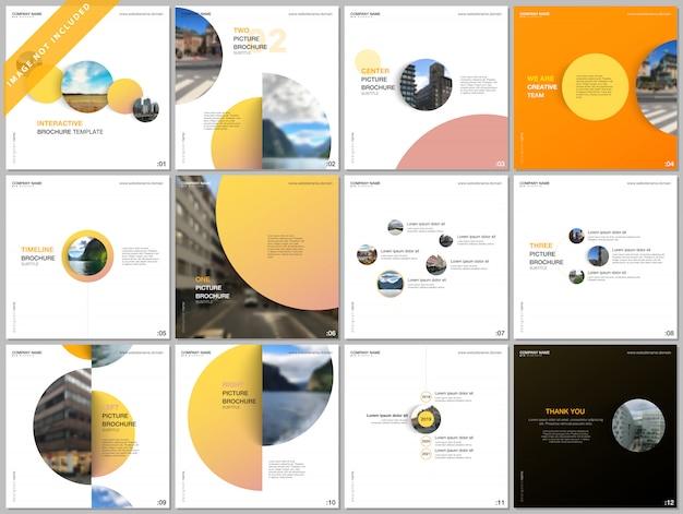 Minimalny szablon profilu korporacyjnego kolorowe koła, okrągłe kształty, obejmuje szablony do kwadratowej broszury