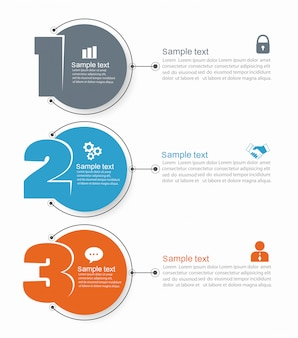 Minimalny szablon projektu infographic z ikonami i trzy kroki