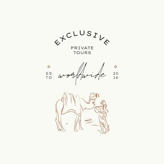 Minimalny szablon projektu logo wektora podróży dla fotografów blogerów podróżniczych z biura podróży