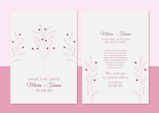 Minimalny szablon zaproszenia ślubnego