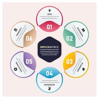 Minimalny sześciokątny z szablonem infografiki biznesowej w kształcie koła