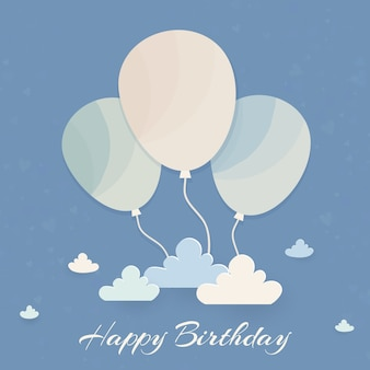 Minimalny wszystkiego najlepszego z balonami i chmurami